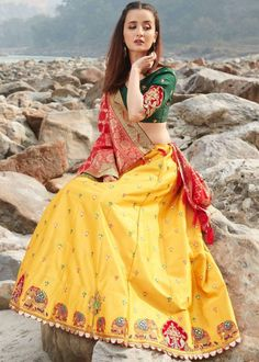#yellow #embroidery #lehenga #choli #dupatta #indianwear #traditional #outfit #beautiful #bride #new #designer #collection #ootd #wedding #time #womenswear #online #shopping Lehenga Choli Online, Silk Lehenga, Yellow Online, Mirror Work, Mustard, Satin, Fabric, Pink, Stuff To Buy