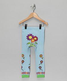 blue happy flowers leggings
