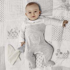 Elephant Motif Baby Sleepsuit | The White Company