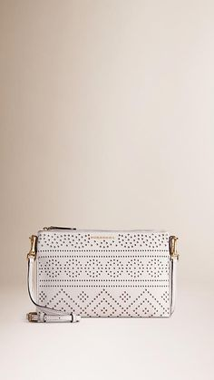 Natural Laser-cut Lace Leather Clutch Bag - Image 1