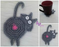 cat butt coaster crochet coaster crochet coasters by StephanDesign