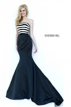 """blurb: """"Modern yet elegant black and white striped bustier fits beautifully as it hugs your curves. Black satin skirt is fitted through the hips with a sweep of train at the rear."""" #wedding #weddingdress #sherrihill #black #stripes #prom #promdress style #32091"""