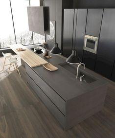 Top Sleek Contemporary Kitchen Designs Inspiration - Page 35 of 63 Rustic Kitchen Design, Contemporary Kitchen Design, Best Kitchen Designs, Modern House Design, Modern Contemporary, Modern Grey Kitchen, Modern Kitchen Cabinets, Kitchen Interior, Island Kitchen