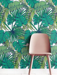 Palm Monstera blad behang verwisselbare behang van Jumanjii op Etsy