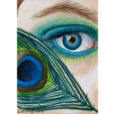 Peacock Feather Eye  ACEO drawing  All proceeds to by LainyArt, $11.00