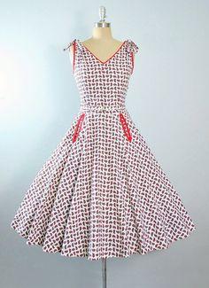 Vintage 50s Dress / 1950s Belted Sundress RED by GeronimoVintage