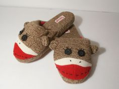 NICK and NORA SOCK MONKEY slippers NEW without tags never worn  unisex m/7-8 #nickandnora