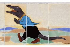 CROCODILE:  A detail from one of the nursery tile panels
