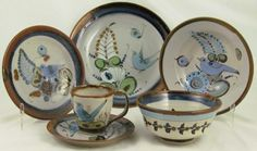 """Kenneth Edwards Hand Painted """"Birds & Butterfly"""" 6 piece place setting:  Dinner Plate, Salad Plate, Rimmed Soup, Coupe Cereal and Cup & Saucer.  Small Coupe Dessert/Sauce not shown."""