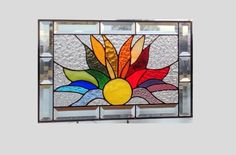 Rainbow stained glass panel window hanging flames sunray stained glass window panel modern abstract suncatcher RS0018 by SGHovel on Etsy https://www.etsy.com/listing/228671300/rainbow-stained-glass-panel-window