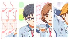Shigatsu wa Kimi no Uso  (Your Lie in April ) Kaori Miyazono, Arima Kousei, Watari Ryouta, Tsubaki