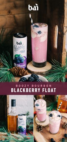 Try this boozy blackberry and bourbon ice cream float. Mixed with Bai Bubbles, just 5 calories and of sugar. Try this boozy blackberry and bourbon ice cream float. Mixed with Bai Bubbles, just 5 calories and of sugar. Holiday Drinks, Party Drinks, Fun Drinks, Yummy Drinks, Yummy Food, Beverages, Harley Davidson, Bourbon Ice Cream, Cocktail Recipes
