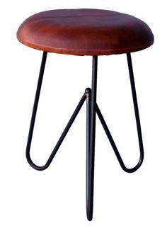 889 kr. 49x36 cm. Vintage pall - Läder och stål i gruppen Vintage hos Reforma Sthlm  (ma1113)
