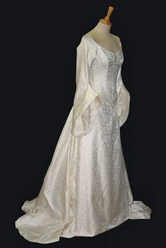 """ivory brocade medieval style wedding dress with tailored hanging sleeves..Pre-Raphaelite/Medieval Couture Bridal Gowns""""Raffaella""""(Ivory Damask)"""