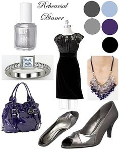 fashion palette with black dress featuring organza burn-out illusion top, grays, purples, and black and blue.