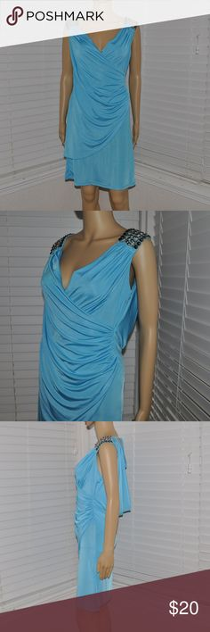 New FORLA PARIS Blue Ruched Cocktail Dress NWT size S new with tags color: blue  embellished shoulders surplice back lace insert cowl back ruched *a few spots on the back as pictured.  spot clean or dry clean before wearing.  @cjrose25  More formal dresses in my posh closet!! Forla Paris Dresses Mini