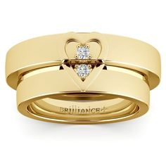 Matching Split Heart Diamond Wedding Ring Set in Yellow Gold www.brilliance.co...