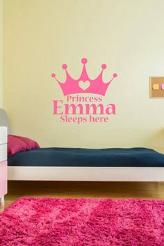 Vinyl wall art. Personalized princess name. Custom vinyl wall decor. Custom wall art for girls room. Personalized princess tiara for girls by PinkPigPrinting on Etsy