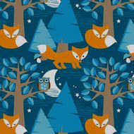 Night Foxes, Lillestoff  - bambiblauw