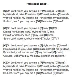 Mercedes Benz (Janis Joplin) Ukulele Chords