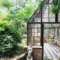 shot of this greenhouse is so dreamy, right? Black and white checkered tile, sprawling old windows and a ton of greenery--hard to go wrong with that combo! Backyard Greenhouse, Greenhouse Plans, Small Greenhouse, Outdoor Spaces, Outdoor Living, Cottage Garden Plants, Garden Pots, Glass House, Growing Plants