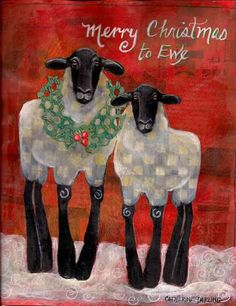 Merry Christmas to Ewe ~ Original Pure Folk Art Painting EBSQ Cathy Darling Christmas Canvas, Noel Christmas, Christmas Paintings, Country Christmas, Christmas Projects, Irish Christmas, Sheep Art, Sheep And Lamb, Christmas Illustration