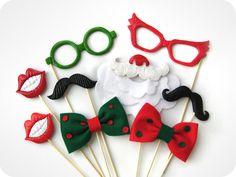 9 Accesorios Navidad Photobooth en palos por MisterMustache, $72.00