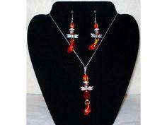 Fire Dragonfly Glass Sterling Silver Necklace Earrings Set | eBay http://www.ebay.com/itm/181206204683?ssPageName=STRK:MESELX:IT&_trksid=p3984.m1555.l2649