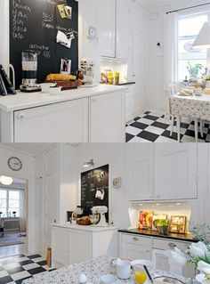kitchen with black and white floor, blackboard and old-style accessories