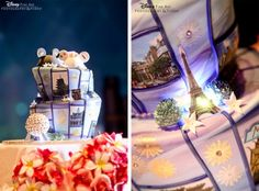 It's a wedding cake and a whirlwind homeymoon all rolled into one! Courtesy of the Disney Weddings Blog.