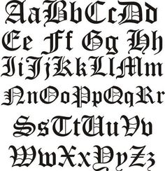 Old English Alphabet, Old English Names, Old English Font, Tattoo Lettering Fonts, Graffiti Lettering, Typography Fonts, Font Tattoo, Tattoo Lettering Styles, Tattoo Arm