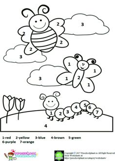 Spring Math Coloring Sheets New Color by Number Spring Worksheet 1 Coloring Worksheets For Kindergarten, Kindergarten Colors, Preschool Coloring Pages, Preschool Colors, Numbers Preschool, Worksheets For Kids, Kindergarten Activities, Coloring Pages For Kids, Coloring Books