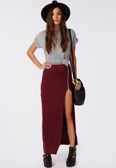 Natallia Zip SIde Split Maxi Skirt Burgundy