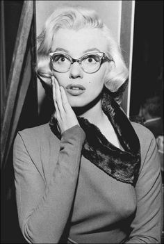 Marilyn Monroe, wearing cat-eye eyeglass frames. Following the trend of everything else form the 1960's becoming in popular again, cat-eye glasses are poised to make a resurgence in 2012.