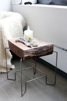 Parallel Pulse's Live/Work Loft House Tour   Apartment Therapy - Awesome side table made of raw wood and welded wire frame. #DIY