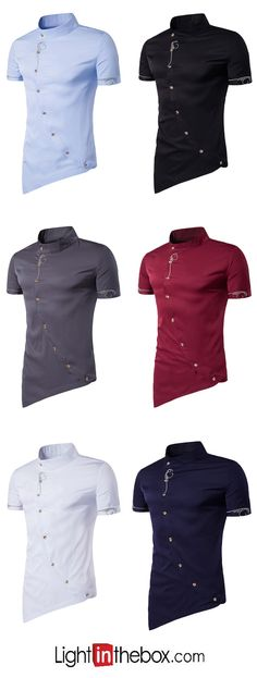 Men's Casual/Daily Simple Summer Shirt,Solid Standing Collar Short Sleeves Cotton Polyester