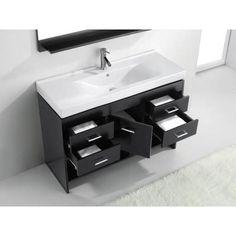Virtu USA Gloria 48 in. Vanity in Espresso with Ceramic Vanity Top in White-MS-575-C-ES-PRST - The Home Depot