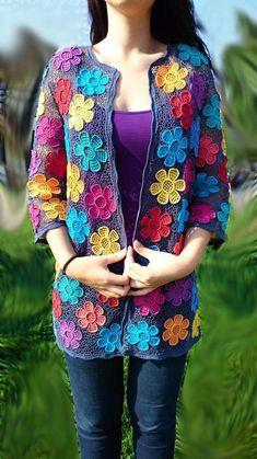 Type:FloralSleeve Type:Half SleeveMaterial:KnittedOccasion:Daytime,Going Crochet Coat, Form Crochet, Crochet Jacket, Crochet Cardigan, Crochet Shawl, Crochet Clothes, Crochet Girls, Irish Lace, Irish Crochet