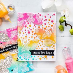 Today I have a fun photo tutorial to share featuring stamps from Pink & Main. It's one background - 2 cards kind of post today with some emboss Card Making Inspiration, Making Ideas, Butterfly Cards Handmade, Some Cards, Card Making Techniques, Card Maker, Sympathy Cards, Photo Tutorial, Flower Cards