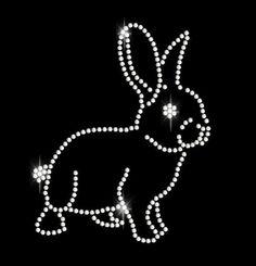 Rhinestone Rabbit Rhinestone Transfer #DIY #rabbit #bunny #Easter #bling #ironon #rhinestones #transfers