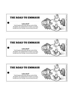 Luke 24 Road to Emmaus Bible Bookmarks: The Road to Emmaus is a wonderful lesson to teach your children about the importance of God's Word! Encourage them to read Luke 24 again with these Road to Emmaus crafts.