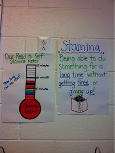 Reading Stamina Anchor Charts- students work to improve upon their previous best time! Kindergarten Anchor Charts, Math Anchor Charts, Reading Anchor Charts, Kindergarten Reading, Teaching Reading, Guided Reading, Reading Fluency, Reading Strategies, Learning