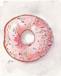 Pink Donut Original Watercolor Painting, Doughnut with Pink Frosting and Sprinkles, Still Life Original Watercolor, 6x8