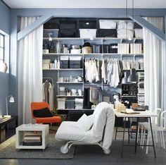 Neat shelf idea! Build shelves & put beams around them to frame the space. :)