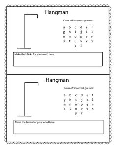 Today we present you the printable version of Hangman word games to keep your kids interested and occupied. This classic pencil and paper game is great for spending leisure time, and you can get your kids learning more vocabulary and spelling. Road Trip Activities, Road Trip Games, Activities For Kids, Paper Games For Kids, Road Trips, Word Games For Kids, Free Games For Kids, Classroom Activities, Classroom Ideas