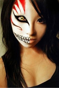 "Epic halloween makeup!  oooh love it; reminds me of the anime ""Bleach"". I got to do that for Hallowe'en!"