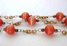 Vintage Bead Chain Orange Glass Brass Gold Cats Eye