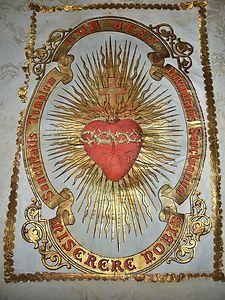 Splendid Small Antique French Church Banner ~Sacred Heart~   eBay