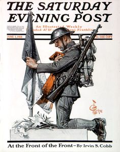 "J. C. Leyendecker - The Saturday Evening Post Magazine cover (June 1, 1918) ""French Soldier's Grave"""
