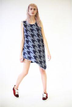 Houndstooth denim sleeveless asymmetric dress